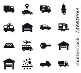 16 vector icon set   truck  car ... | Shutterstock .eps vector #739809964