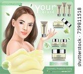 women cosmetics product...   Shutterstock .eps vector #739811518