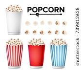 popcorn cup set vector.... | Shutterstock .eps vector #739812628