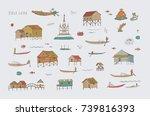 travel inle lake myanmar burma... | Shutterstock .eps vector #739816393