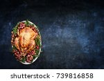 roast thanksgiving day or...   Shutterstock . vector #739816858