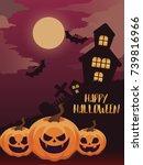 halloween poster with pumpkin... | Shutterstock .eps vector #739816966