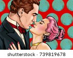 couple hugging and holding each ... | Shutterstock . vector #739819678
