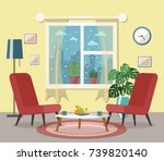 cozy living room interior with... | Shutterstock .eps vector #739820140