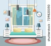 bedroom interior with a big... | Shutterstock .eps vector #739820350