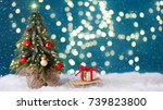 christmas tree and a sleigh... | Shutterstock . vector #739823800