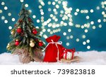 christmas tree and a sleigh... | Shutterstock . vector #739823818