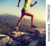 young fitness woman runner... | Shutterstock . vector #739826020