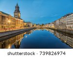 Cityscape with Big Harbor Canal and German Church (Christinae Church) at dusk in Gothenburg, Sweden