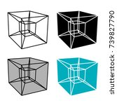 abstract hypercube simple... | Shutterstock .eps vector #739827790