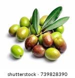 sweet green olives fruits close ... | Shutterstock . vector #739828390