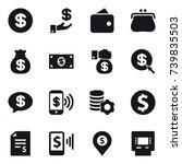 16 vector icon set   dollar ... | Shutterstock .eps vector #739835503