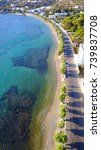 Small photo of Aerial bird's eye view photo taken by drone of beautiful fishing village of Alinda, Dodecanese, Greece