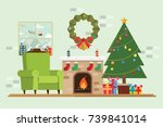 christmas tree gift has santa... | Shutterstock .eps vector #739841014