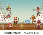group of cartoon pirates on a... | Shutterstock .eps vector #739841113