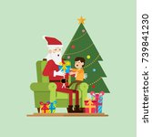 santa is sitting with a child... | Shutterstock .eps vector #739841230