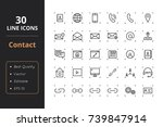 30 contact line icons | Shutterstock .eps vector #739847914