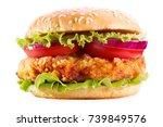 chicken burger with vegetables... | Shutterstock . vector #739849576