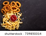 onion rings and french fries... | Shutterstock . vector #739850314