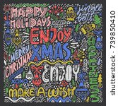 complex christmas lettering.... | Shutterstock .eps vector #739850410