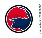 bear and bull vector logo. icon ... | Shutterstock .eps vector #739850686