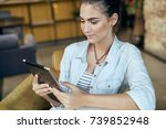 tablet  cafe  business woman    ... | Shutterstock . vector #739852948