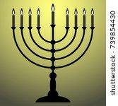 menorah for hanukkah with shine.... | Shutterstock .eps vector #739854430
