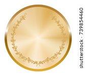 golden medal with laurel wreath ... | Shutterstock .eps vector #739854460