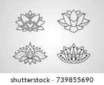 lotus outline icons set....