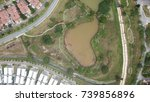 lake house ariel view  | Shutterstock . vector #739856896