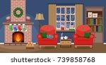 cozy living interior christmas... | Shutterstock .eps vector #739858768
