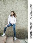 attractive young brunette... | Shutterstock . vector #739863820