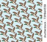background pattern with mallard ... | Shutterstock .eps vector #739864558