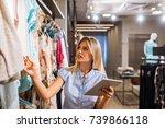 a young beautiful woman... | Shutterstock . vector #739866118