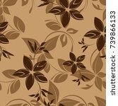 vector seamless pattern flowers ...   Shutterstock .eps vector #739866133