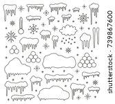 set of doodle outline snow caps ...   Shutterstock .eps vector #739867600