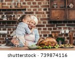grandmother and granddaughter... | Shutterstock . vector #739874116