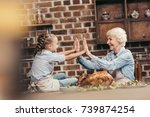 grandmother and granddaughter... | Shutterstock . vector #739874254