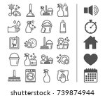 cleaning line icons. laundry ... | Shutterstock .eps vector #739874944