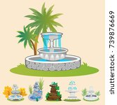 set of outdoors fountain for... | Shutterstock .eps vector #739876669