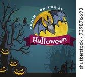 vampire bat flying on the full...   Shutterstock .eps vector #739876693