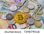 bitcoin styled coin with... | Shutterstock . vector #739879018