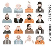 people avatar face icons | Shutterstock .eps vector #739879090