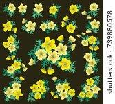 floral arrangements in small...   Shutterstock .eps vector #739880578