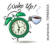 cartoon green alarm clock with...   Shutterstock .eps vector #739883014