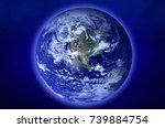 planet earth in space. elements ... | Shutterstock . vector #739884754