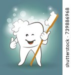 happy smiling tooth with soft... | Shutterstock .eps vector #739886968