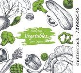 vector frame with vegetables .... | Shutterstock .eps vector #739888543