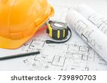 architects workplace  ... | Shutterstock . vector #739890703
