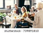 senior woman carrying... | Shutterstock . vector #739891810